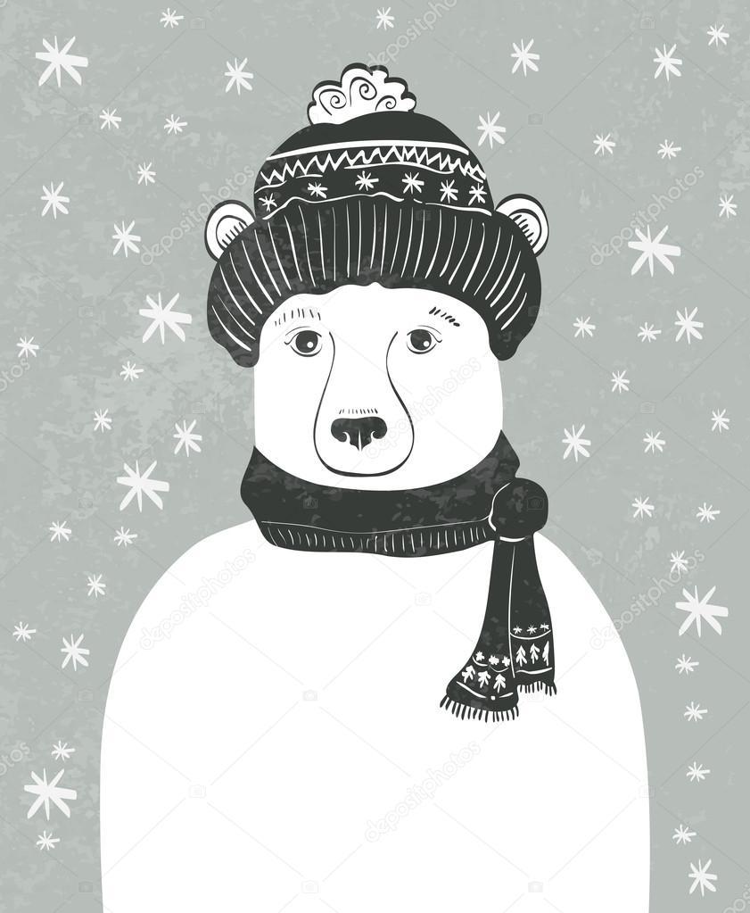 Christmas bear with snowflakes