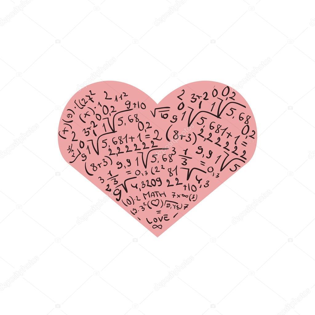 Design piatto con cuore rosa e numeri io amo la for Design piatto
