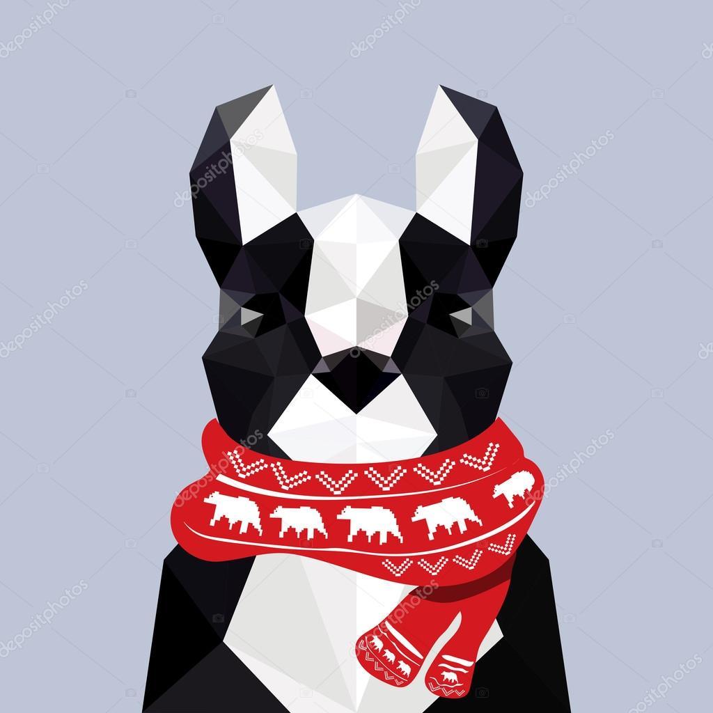 Moderní plochý design s origami Francouzský buldoček nosí ... - photo#49