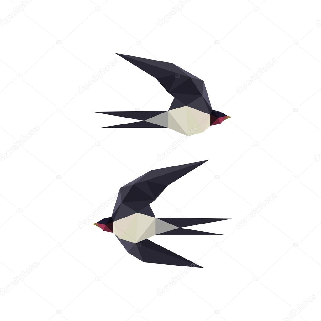 Illustration With Origami Swallow Birds Stock Vector