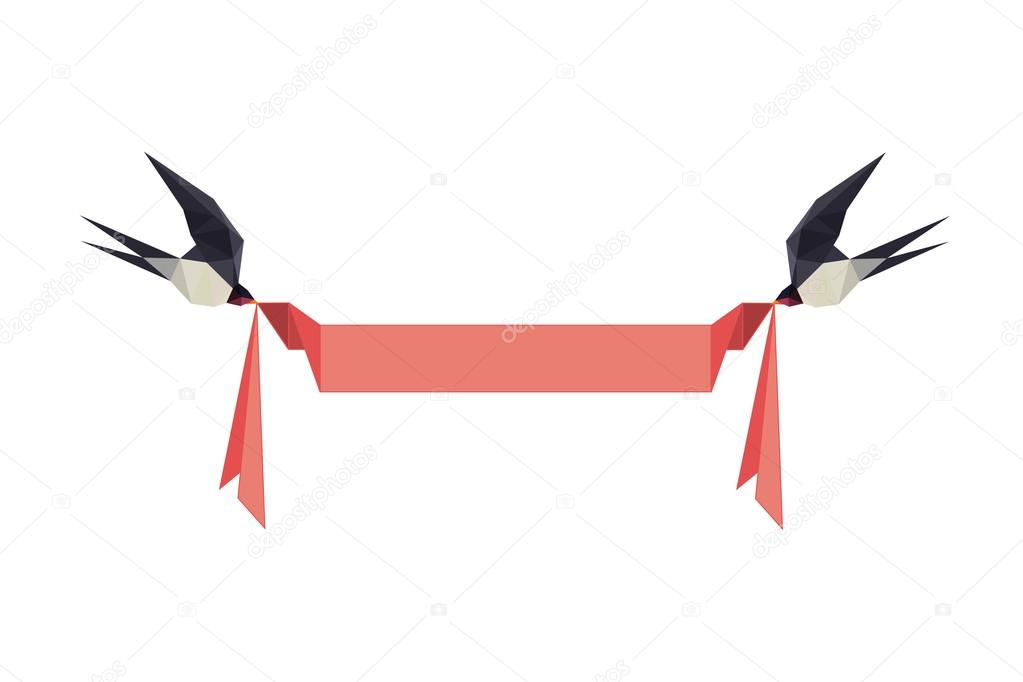 Illustration With Origami Swallows Holding Banner Stock Vector