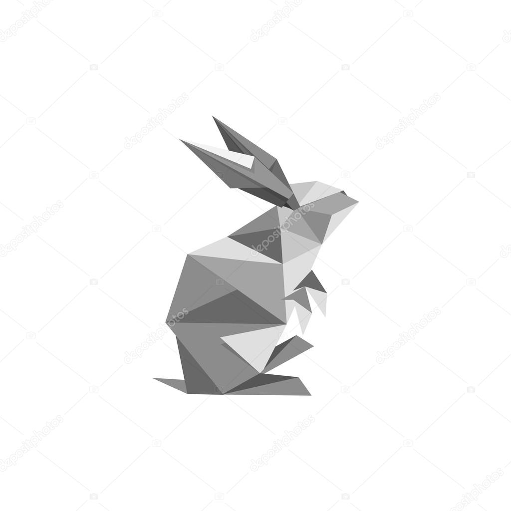Illustration With Origami Rabbit Symbol Stock Vector