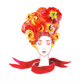 Girl with flowers  in your hair