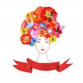 Dívka s květinami ve vlasech