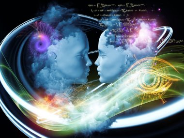 Dreaming Intellect series. Visually attractive backdrop made of human face and technological elements suitable as element for layouts on mind, reason, intelligence and imagination stock vector