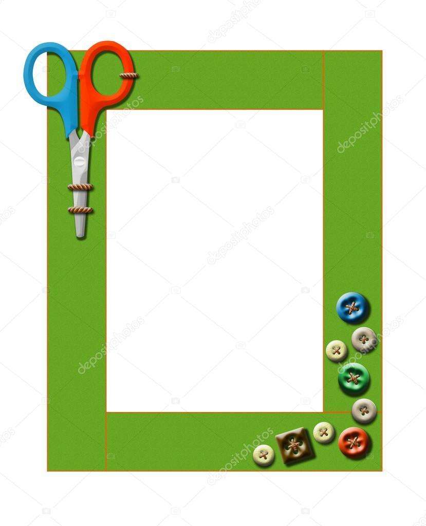 marco infantil de arte con unas tijeras. aislado — Foto de stock ...