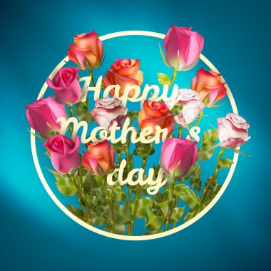 Happy Mothers Day roses design EPS 10