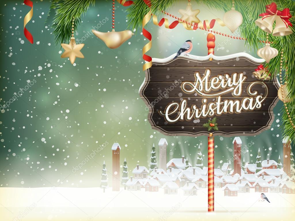 Christmas scene, village. EPS 10