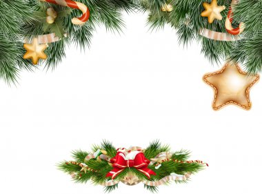 Christmas background with baubles. EPS 10
