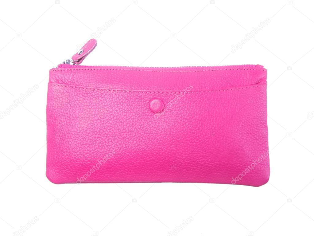 Wallet Or Purse Woman Pink Colour On A Background Stock Photo