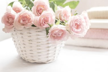 Beautiful, pink roses in a white basket close up