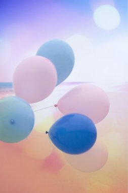 Artistic background with colorful balloons, vintage style