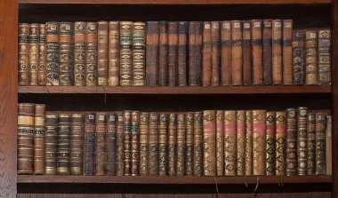 Old books in a wooden library