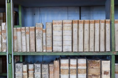 historic old books in library, wooden bookshelf
