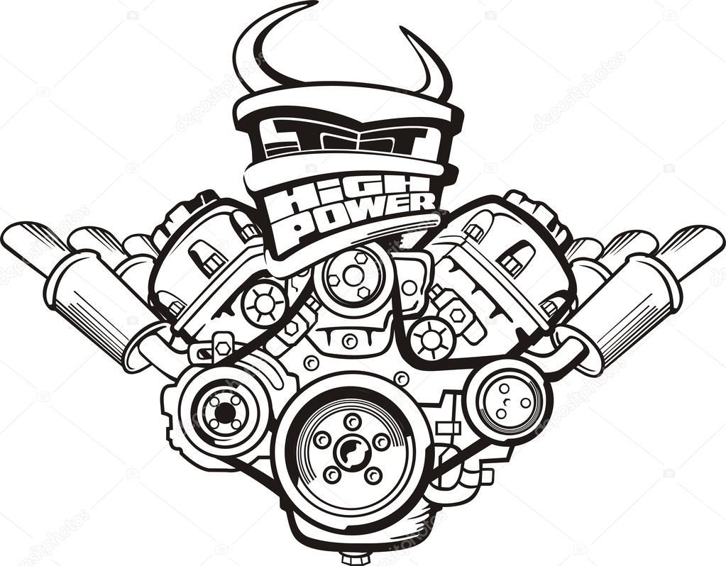 Hoog Vermogen Motor Teken Stockvector C Kokandr 56255417