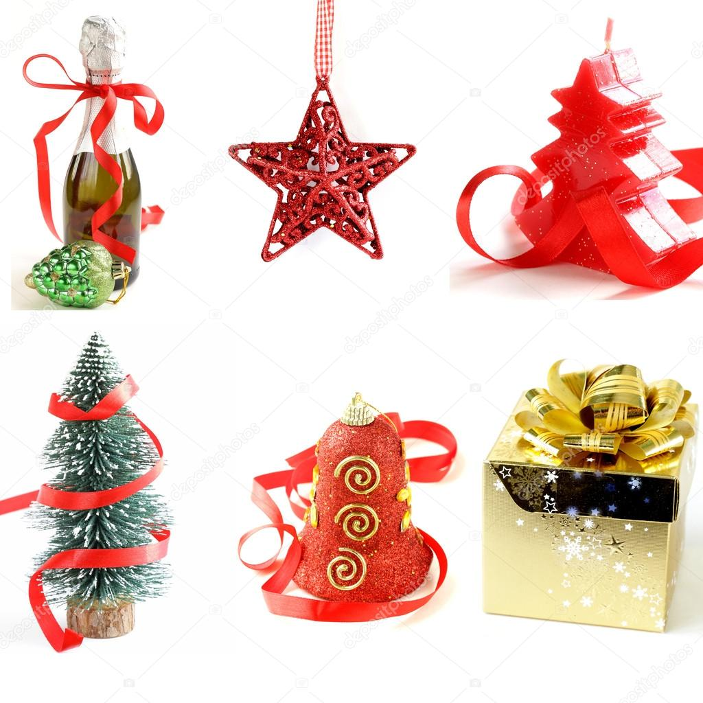 Set different Christmas decorations and symbols on the white ...