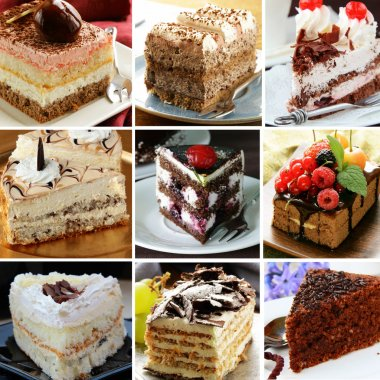Collage of different pieces of cake (vanilla, chocolate, Black Forest)