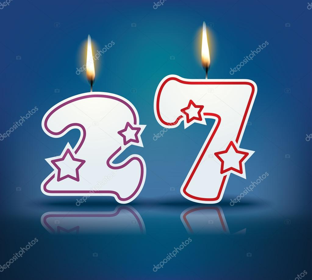 Birthday candle number 27 with flame - eps 10 vector illustration — Vector  by lajo_2