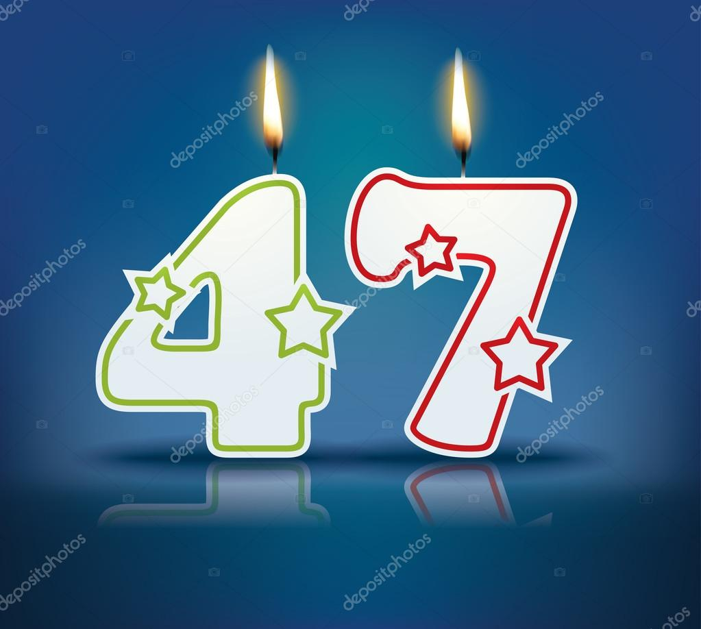 Birthday candle number 47 with flame - eps 10 vector illustration — Vector  by lajo_2