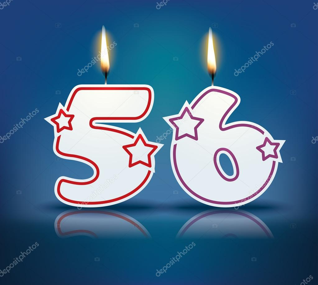 Birthday candle number 56 with flame - eps 10 vector illustration — Vector  by lajo_2