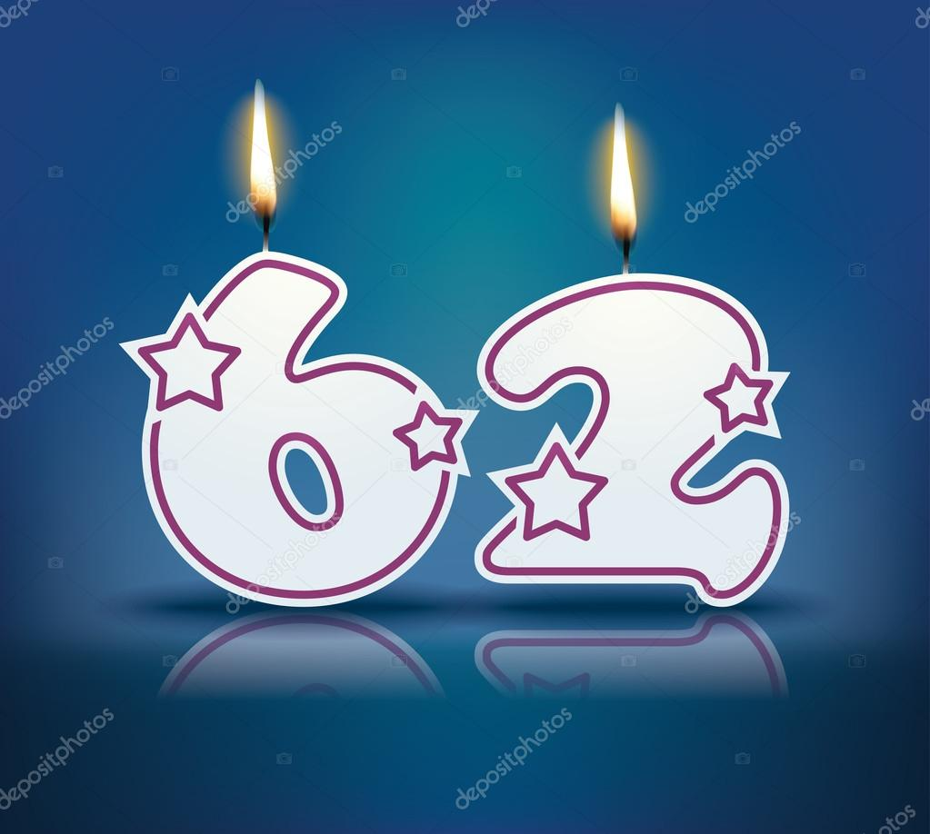 Birthday candle number 62 with flame - eps 10 vector illustration — Vector  by lajo_2