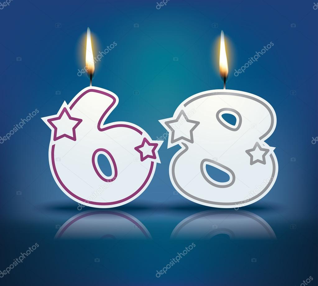 Birthday candle number 68 with flame - eps 10 vector illustration — Vector  by lajo_2