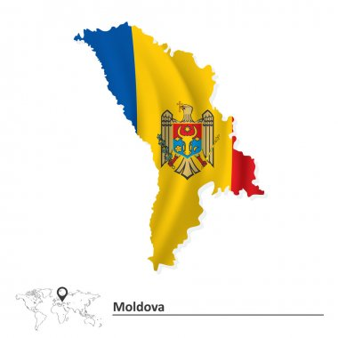 Map of Moldova with flag