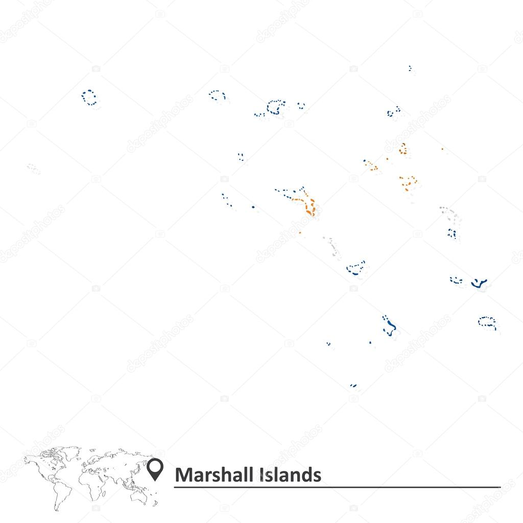 Map of Marshall Islands with flag — Stock Vector © lajo_2 #67559327