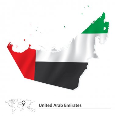 Map of United Arab Emirates with flag