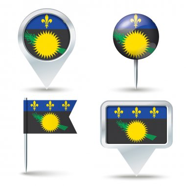 Map pins with flag of Guadeloupe