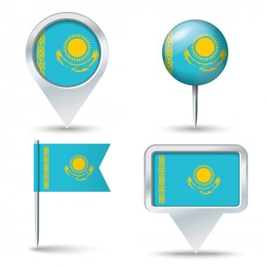 Map pins with flag of Kazakhstan