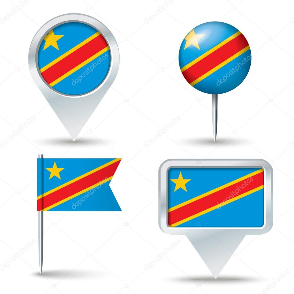 Map Pins With Flag Of Congo DRC Stock Vector Lajo - Flag pins for maps