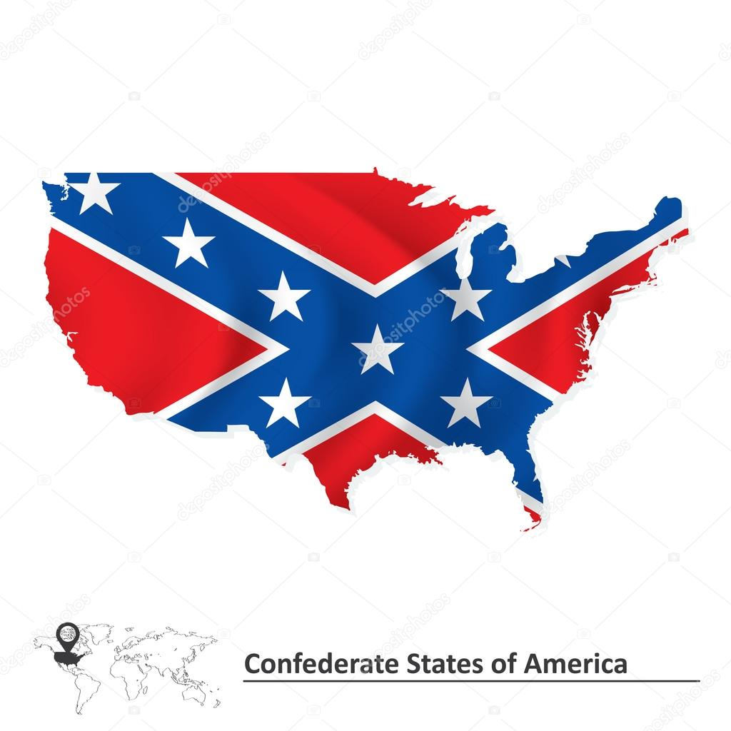 Flag of Confederate states of America with USA map — Stock Vector ...