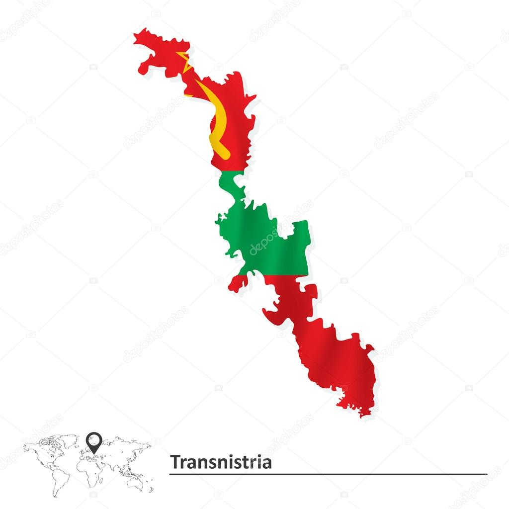 Map Of Transnistria With Flag Stock Vector Lajo - Transnistria map