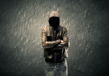 Spooky faceless guy standing in hoodie