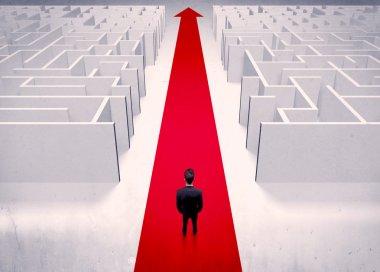 Smart businessman avoiding maze concept