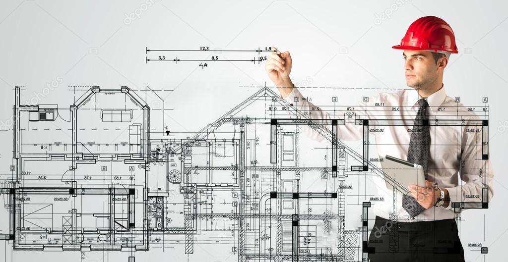 Junge Architekten Zeichnen Einen Haus Plan Stockfoto