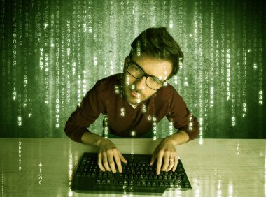 Online hacking in progress concept