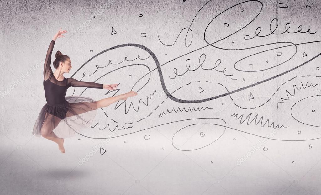 Drawing Lines With Arrows In Photo : Ballet dancer performing art dance with lines and arrows u stock