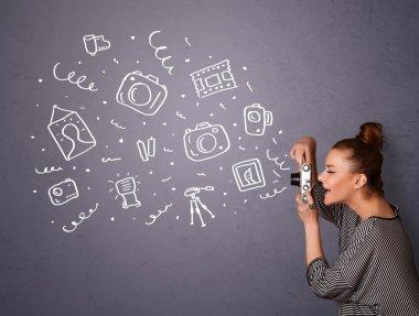 Young photographer girl shooting photography icons stock vector
