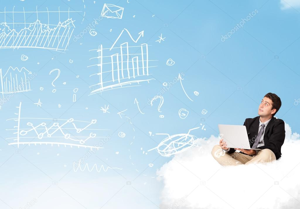 Young businessman sitting in cloud with laptop, charts concept stock vector