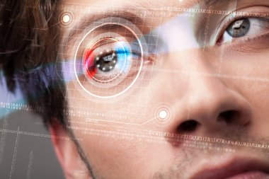 Modern cyber man with technolgy eye looking stock vector