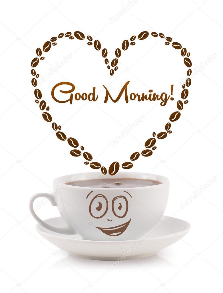 kaffeetasse mit kaffeebohnen geformten herz mit guten morgen unterschreiben stockfoto. Black Bedroom Furniture Sets. Home Design Ideas