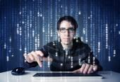 Fotografie Hacker dekódování informace z futuristické technologie