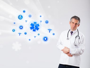 Doctor with blue medical icons