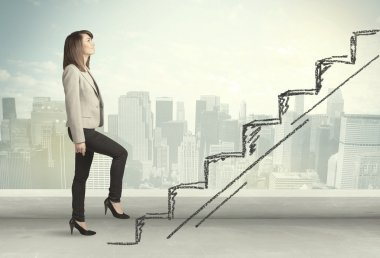 Business woman climbing up on hand drawn staircase concept