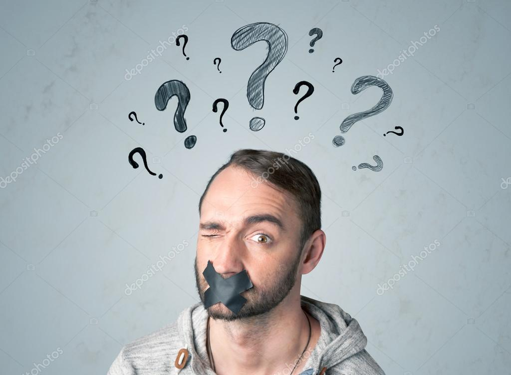 Young man with glued mouth and question mark symbols