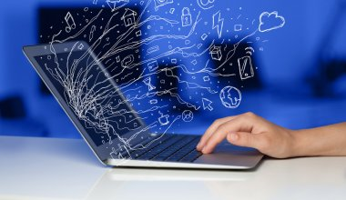 Man pressing notebook laptop computer with doodle icon cloud sym