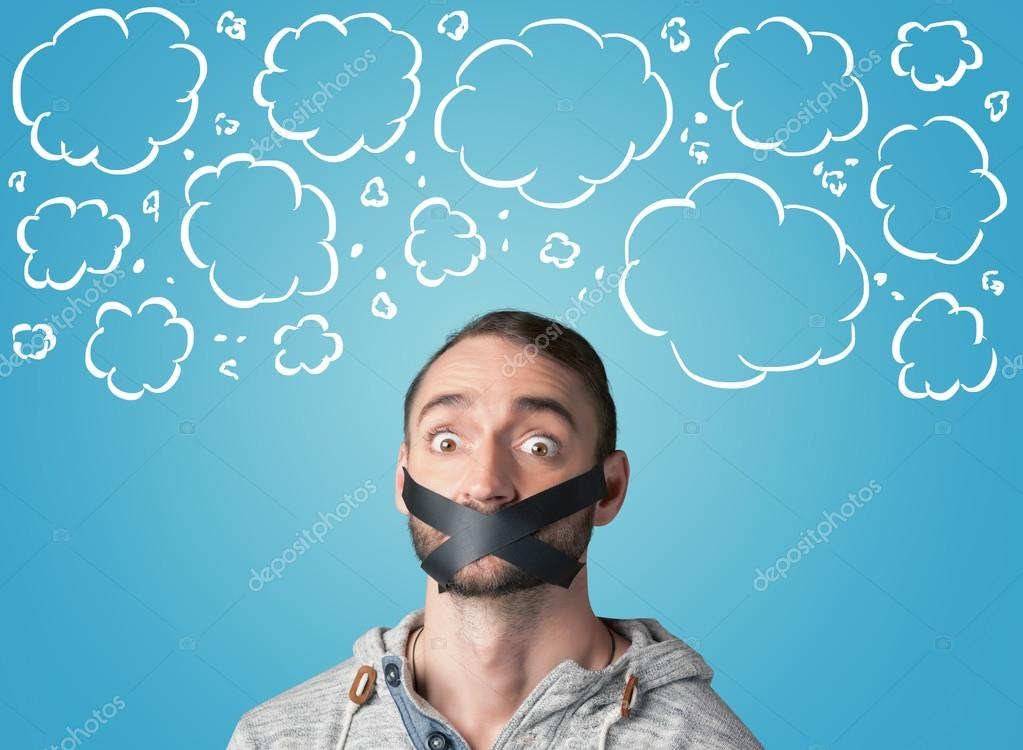 Funny person with taped mouth