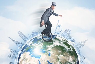 Man riding unicycle around the globe with major cities